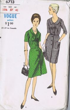"1 PC Dress VINTAGE 60s SEWING PATTERN 6713 VOGUE SIZE 16.5 BUST 39 HIP 41"" UNCUT"