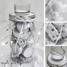 teelicht-adventskalender im glas. Christmas Mason Jars, Christmas Candles, Christmas Decorations, Advent Calenders, Diy Gifts, Handmade Gifts, Candle Containers, Diy Candles, Xmas Crafts