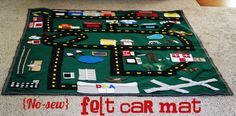 No-sew felt car mat. Maybe I'll get motivated someday and get this made before my little boy outgrows cars.