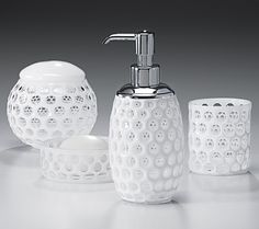 """""""Honeycomb"""" crystal bath accessories designed by Jamie Drake for Labrazel and handcrafted in Italy. Jamie Drake, Bathroom Soap Dispenser, Bathroom Sets, Glass Design, Honeycomb, Bathroom Accessories, Italy, Crystals, Kitchen"""
