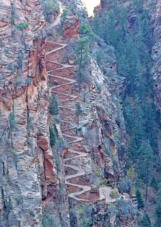 The switchback footpaths going up to Angels Landing in Zion Nat'l Park