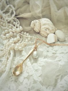 Misty morning moment. Gold plated spare spoon necklace on www.varalusikka.fi