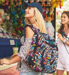 Vera Bradley's quilted cotton is colorful, lightweight, and packable. Exterior features two zip pockets, two side slip pockets and a grommet for headphones. Front zip compartment features a charger pocket, three slip pockets, four pen slip pockets and an ID window. Main compartment features two mesh slip pockets. Laptop compartment. Beautiful Bags, Vera Bradley Backpack, Butterfly, Slip On, Backpacks, Zip, Stylish, Charger, Pattern
