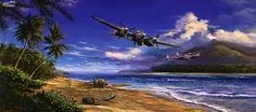"""""""All in a Days Work"""" depicts P-38 Lightnings from the 475th Fighter Group on a fighter sweep down a Pacific Island beach."""