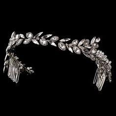 Elegance By Carbonneau Ornate Antique Silver Crystal Wedding Headband $140