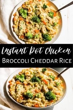 This Instant Pot Broccoli Cheddar Chicken and rice is a family friendly super easy and healthy dinner. It uses frozen broccoli to make things even easier and cleanup is a breeze. Everyone loves this broccoli cheddar combo, and it's gluten free as well. #instantpot #chickenandrice #healthy