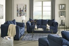 The Ashley Furniture Darcy 2 Piece Living Room Set is in stock and available for fast shipping. Blue Couch Living Room, Cheap Living Room Sets, Navy Blue Living Room, Living Room Sectional, Sectional Sofas, Living Room Color Schemes, Living Room Designs, Sofa Design, Blue Furniture