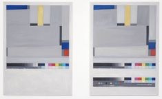 """""""Remember me, mistakenly - although you've given me everything (Glarner)"""", 2011 // Two oil paintings on canvas documenting an archival photograph of Relational Painting - No. 55, 1965, Oil on hardboard, 87 x 65 cm by Fritz Glarner (1899 - 1972) from the collection of Haus Konstruktiv, Zurich (CH). This work consists of two paintings each measuring 98 x 70 cm displayed side by side with a gap of 22 cm between the canvas's. // Click on """"Visit"""" and see more ! Oil Painting On Canvas, Oil Paintings, Ryan Gander, Make Meaning, Give Me Everything, Zurich, It Works, Gap, Give It To Me"""