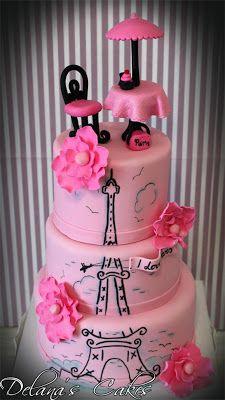 Delana's Cakes: Paris themed Birthday Cake