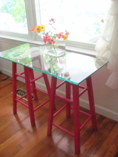 repurposed wooden stools, painted furniture, repurposing upcycling, Kinda quirky simple and fun