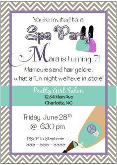 Spa Party Invitationinvitespa birthday partyspa birthday