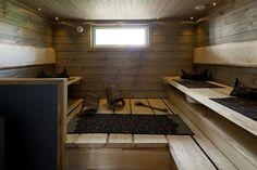 Holiday Housing Fair Sauna in Kyminniemi house. Saunas, Bath Caddy, Beautiful Homes, Spa, Cottage, Interior, House, Furniture, Home Decor