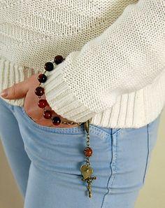 Rosary Bracelet. Initial Rosary Bracelet. Gift For por EkoLine