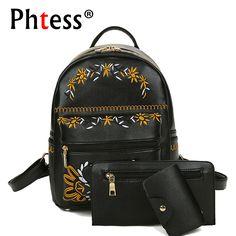 Embroidery Composite Bag Backpack 3 PCS/SET Women Leather Backpacks Bolsas School Bag For Girls Small Back Pack Sac a Dos Brand #Affiliate