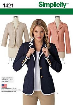 Simplicity Creative Group - Misses' Unlined Jacket with Collar and Finishing Variations