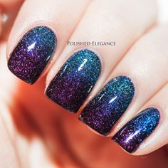 Blue to purple gradient manicure using  Zoya Dream (blue jelly base with scattered holographic particles) and Zoya Payton (dark, berry purple with scattered holo particles).