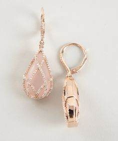 Julieri : rose quartz and diamond 'Julia' drop earrings : style # 318579201