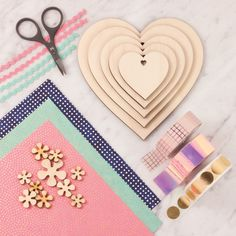 Selection of what will be available to shop at the fair. Including wooden shapes and embellishments, hand-picked accessories, washi tape and chiyogami papers. Wooden Shapes, Craft Materials, Washi Tape, Craft Gifts, Embellishments, Artisan, Kids Rugs, Paper, Creative
