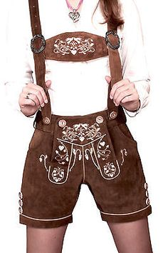 Engelleiter Women's Traditional costume Lederhosen Pants Shorts Doves Embroidery