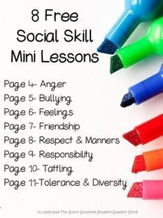 8 FREE Social Skill Mini Lessons by The Sunny Sunshine Student Support Store Social Skills Lessons, Social Skills Activities, Teaching Social Skills, Counseling Activities, Social Emotional Learning, Therapy Activities, Learning Skills, Group Counseling, Social Skills For Children