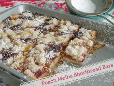 Peach Melba Shortbread Bars.  A delicious classic blend of Raspberry and Peach in a bar cookie - YUM!
