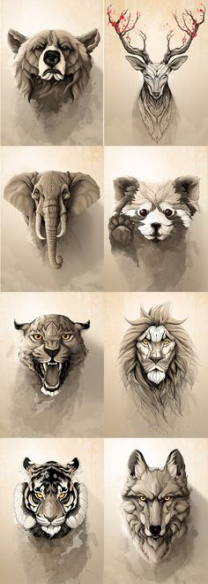 """Wild Animals"" metal posters collection by Rafapasta CG adorables funny graciosos hermosos salvajes tatuajes animales Trendy Tattoos, Tattoos For Women, Small Tattoos, Tatoos Men, Animal Tattoos For Men, Afrika Tattoos, Animal Drawings, Art Drawings, Drawing Animals"
