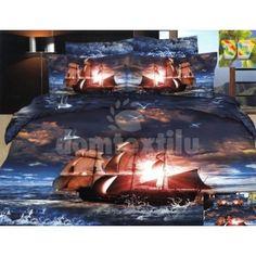 Tmavomodré posteľné návliečky s loďou