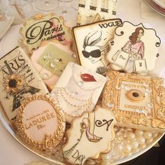 Parisian decorated cookies~ | by You Can Call Me Sweetie, shopping, pearl necklace, Eiffel tower, pink, ivory, gold