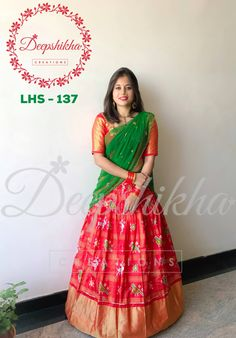 LHS - 137. Beautiful red color ikkat lehenga with bird design and pattu boarder. Red color pattu blouse with green color net dupatta.For queries kindly WhatsApp : +91 9059683293 18 March 2018