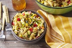 This pasta salad is brimming with whole wheat pasta, fresh vegetables and shredded cheese. Celebrate the summer harvest with our Veggie Salad-Pasta Toss recipe! Fresh Salad Recipes, Bean Salad Recipes, How To Cook Beans, How To Cook Pasta, Great Recipes, Healthy Recipes, Side Recipes, Summer Recipes, Vegetable Pasta Salads