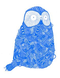 Cute Blue Owl  8 x 10 Risograph Print by hellokirsten on Etsy, $12.00