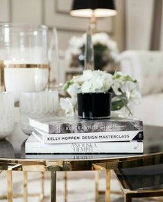JULIELINGMA · Black and Gold Coffee Table, Coffee Table Books, Chic Stylish Living Room