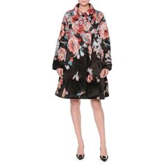 Giorgio Armani Textured Floral-Print A-Line Coat ($5,600) ❤ liked on Polyvore featuring outerwear, coats, fantasia, floral coat, giorgio armani coat, long sleeve coat, giorgio armani and floral print coat