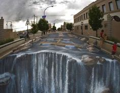 Fake Flood 3D Chalk drawing on a street!