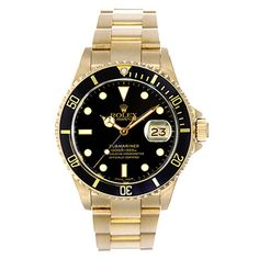 Rolex Yellow Gold Submariner Wristwatch Ref 16618   From a unique collection of vintage wrist watches at https://www.1stdibs.com/jewelry/watches/wrist-watches/