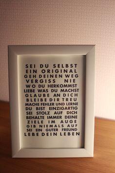 """Buchstaben & Schriftzüge - SCHRIFTZUG """"SEI DU SELBST"""" - ein Designerstück von kisikla bei DaWanda"""