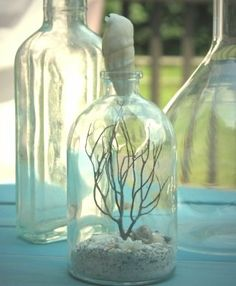 ---cute room decor for beach themed bedroom (Randals Bedroom) --Bottle your Travel Treasures and use a shell as cork.