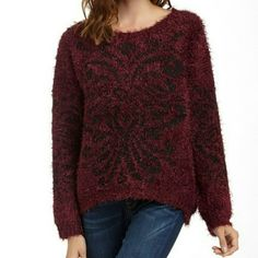 """NWT Romeo & Juliet Ox Blood/Black Thick Sweater 56% polyester, 44%acrylic  19""""L Romeo & Juliet Couture Sweaters"""
