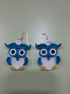 Quilling owl earrings