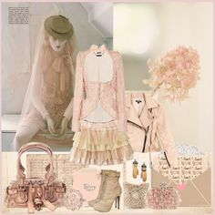 """Romantic Peach"" by iggy-rouvinen ❤ liked on Polyvore"