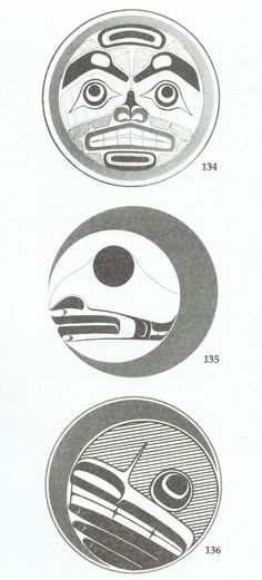 Different presentations of West Coast Native Moon designs by Tony Hunt (Kwakiutl), Frank Charlie and Robert Davidson (Haida).