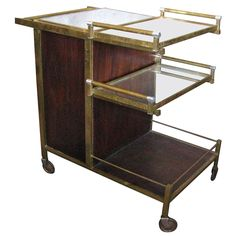 Art Deco Serving Table Bar by Jacques Adnet | From a unique collection of antique and modern bar carts at https://www.1stdibs.com/furniture/tables/bar-carts/
