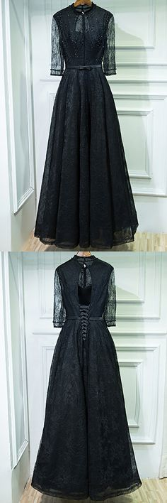 Only $109, Vintage Chic Long Black High Neck Prom Dress With 3/4 Sleeves #MYX18025 at #SheProm. SheProm is an online store with thousands of dresses, range from Prom,Party,Black,Long Black Dresses,Lace Dresses,Long Dresses,Long Sleeve Dresses,Customizable Dresses and so on. Not only selling formal dresses, more and more trendy dress styles will be updated daily to our store. With low price and high quality guaranteed, you will definitely like shopping from us. Shop now to get $10 off!