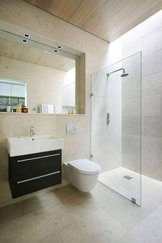 Sustainable mobile home in UK bathroom shower - Home Decorating Trends - Homedit Bathroom Floor Tiles, Bathroom Wall, Modern Bathroom, Small Bathroom, Wall Tiles, Shower Bathroom, Design Bathroom, Glass Shower, Bathroom Ideas
