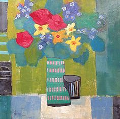 "Still Life Artists International: Contemporary Still Life Art Painting ""Salon Floral #2"" by Santa Fe Artist Annie O'Brien Gonzales"