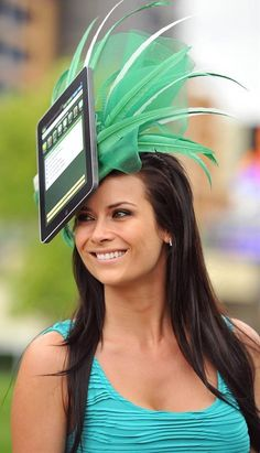A racegoer wears a homemade IPad hat on the second day of the annual Royal Ascot horse racing event near Windsor, west of London, in Berkshire, on June Funny Hats, Crazy Hats, Kentucky Derby Hats, Royal Ascot, Cool Hats, Swagg, Hats For Women, Fashion Accessories, Fascinators