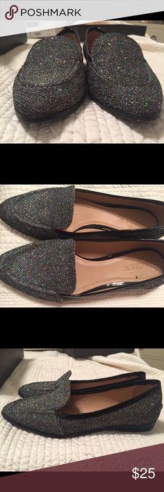 Glitter Loafers!  Worn once! J Crew size 7 fun glitter loafers size 7 J. Crew Shoes