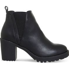 OFFICE Limit chunky faux-leather chelsea boots ($54) ❤ liked on Polyvore featuring shoes, boots, ankle booties, chunky-heel boots, high heel ankle booties, chunky booties, faux leather chelsea boots and vegan boots