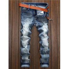 Generic Mens Fashion Drawstring Loose Broken Jeans Harem Denim Pants
