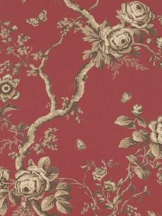 DecoratorsBest - LWP65740W - ASHFIELD FLORAL - VERMILLION - Wallpaper